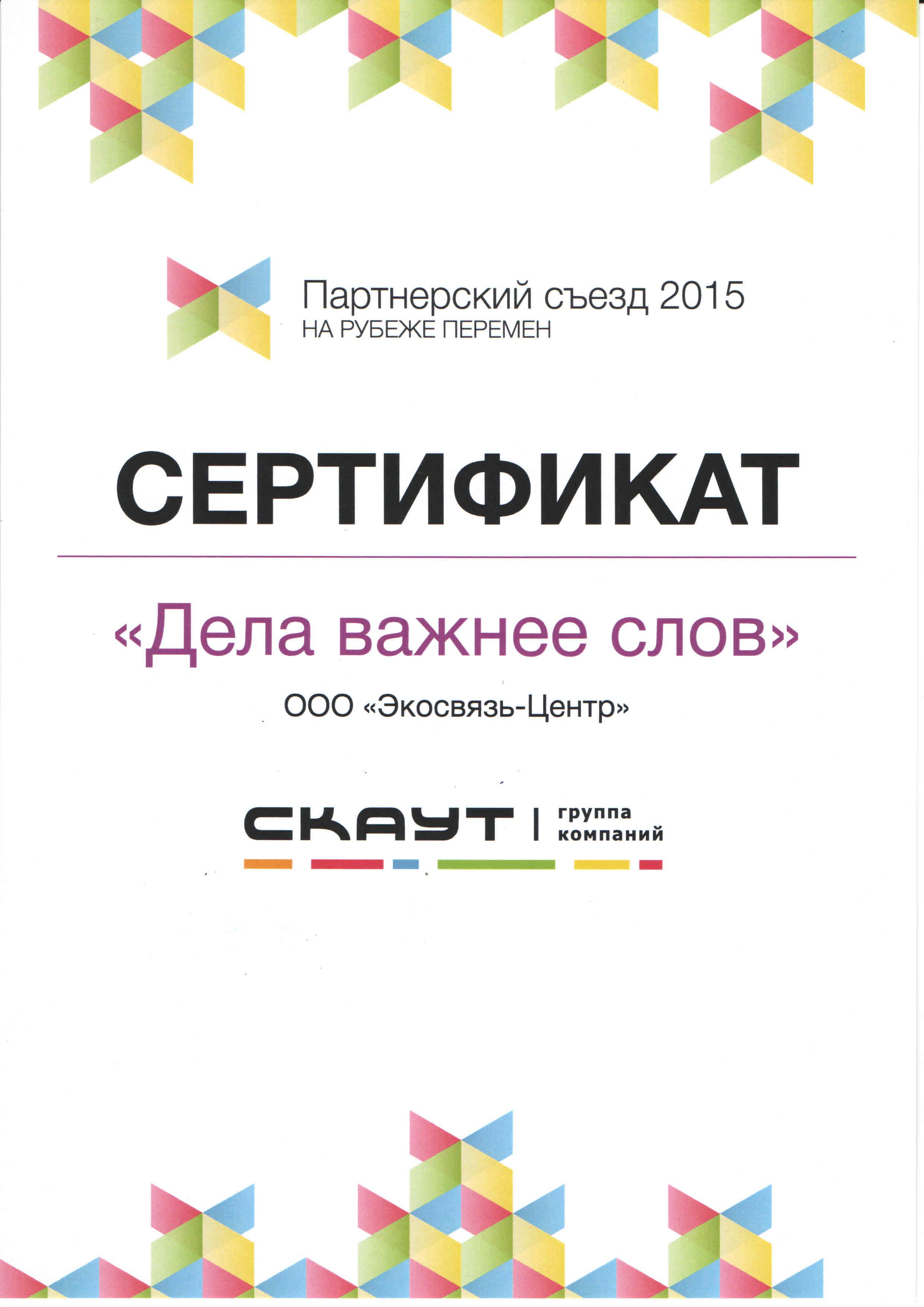Сертификат СКАУТ 2015