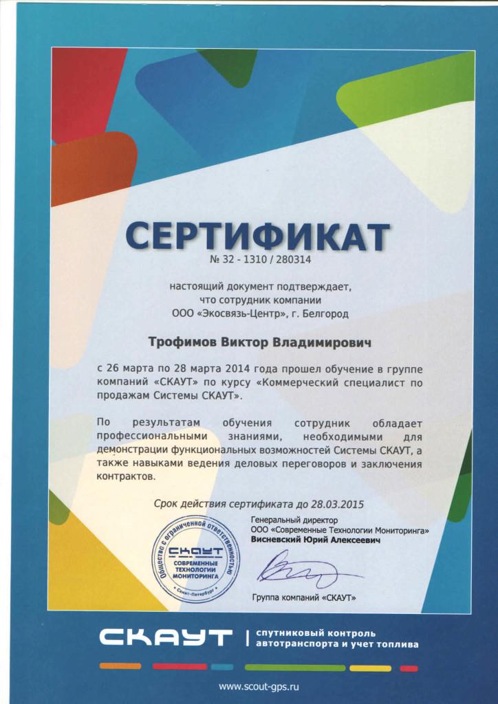 сертификат СТМ Трофимов